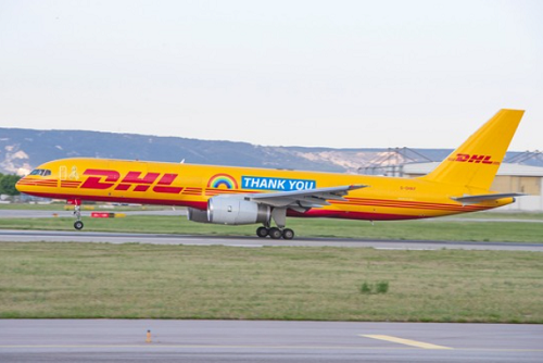 DHL's rainbow thank-you B757