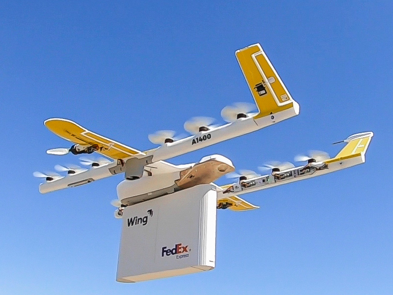 The Wing-operated FedEx delivery drone