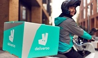A Deliveroo bike courier