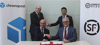 Standing: Christophe Cornilleau (left), Alex Wang (SF Express General Manager West Europe) <p> Sitting (from left): Martin Piechowski (Chronopost chairman), David Adams (SF Express, CEO Overseas Region)
