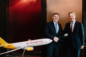DHL Express CEO Ken Allen (left) with <p>Cathay Pacific CEO Rupert Hogg